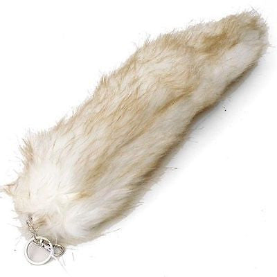 "WHITE WITH BROWN STREAKS FUR FOX TAIL FOXTAIL KEYCHAIN 12"" CLIP-BRAND NEW!"