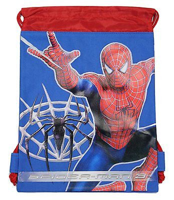 SPIDERMAN 3 BLUE DRAWSTRING BAG BACKPACK TRAVEL STRING POUCH MARVEL COMICS-NEW