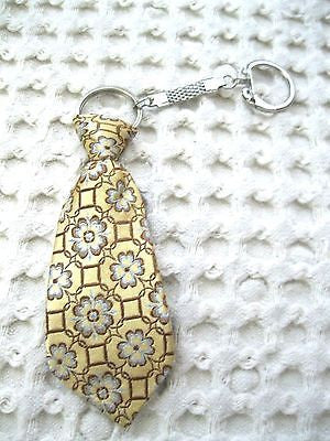 "Gold Yellow with Flowers Necktie 7"" Keychain -Gold Neck tie Keychain-Brand New"