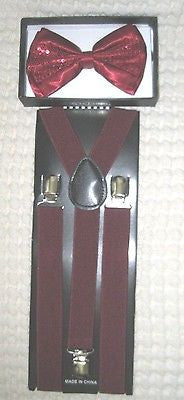 Navy Blue Mesh Adj Bow Tie & Burgundy Navy Blue Gargoyle Y-Back Adj Suspenders