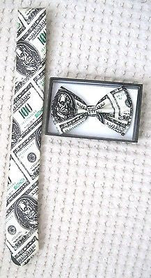 Benjamins Money 100 Dollar Bill Adjustable Bow Tie & Benjamins $100 Bill Necktie