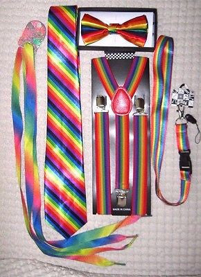 Men's Rainbow Stripes Adjustable Bow tie,Neck Tie,Suspenders,Lanyard,Shoelaces14