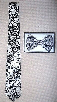Unisex Multiple Skulls Adjustable Bow tie and Skulls Design Neck Tie Combo-New