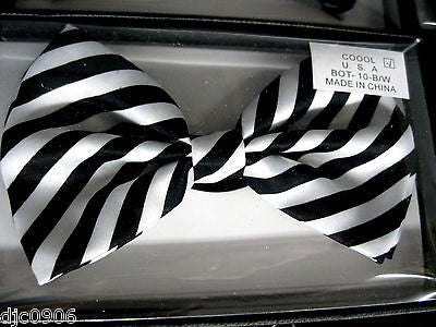 BLACK AND WHITE SWIRL STRIPED ADJUSTABLE BOWTIE BOW TIE-NEW GIFT BOX!
