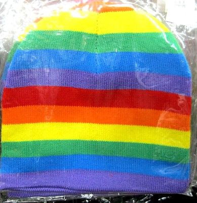Rainbow Blue,Red,Yellow,Green,Purple Stripes Winter Knitted Skull Beanie Ski-New