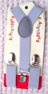 Solid Dark Gray Kids Boys Girls Y-Style Back Adjustable suspenders-Brand New!