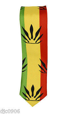 "Unisex RASTA Stripes w/ Black MJ Weed Leaves Neck tie 56"" L x 2"" W-RASTA Tie-New"
