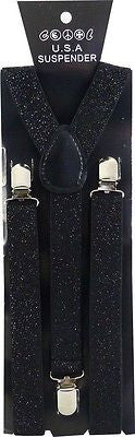 Unisex BLACK Glittered Adjustable Y-Style Back suspenders-New! BLACK SUSPENDERS