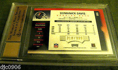 Domanick Davis RC 2003 Playoff Contenders Auto ROOKIE #ed GEM Mint Graded BGS 10
