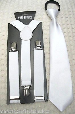 Kids Teens White Adjustable Pre-Tied NeckTie & White Adjustable Suspenders Set
