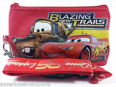 DISNEY MCQUEEN TATER RED LANYARD WITH DETACHABLE COIN POUCH/WALLET/PURSE-NEW