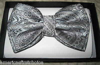 Silver Gray Paisley Tuxedo Bow Tie & Silver Gray Adjustable Suspenders Combo-New