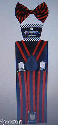 Black Red Stripes Adjustable Bow Tie & Black Red Stripes Suspenders Combo-New!