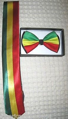 Rasta Stripes Adjustable Bow Tie and Rasta Stripes Necktie 420 Special Combo