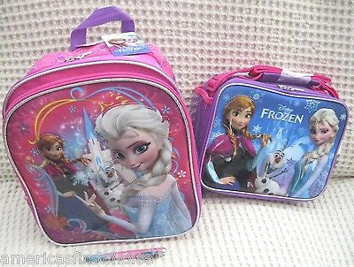 "Frozen Anna Elsa Olaf 10"" Backpack and Lunch Bag Lunchbox + Frozen Pen-New!v11"
