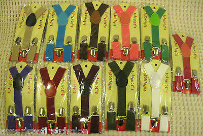 BOYS GIRLS KIDS ARMY/OLIVE GREEN CLIP-ON Y-Back Elastic Suspenders 1.5CM WIDTH