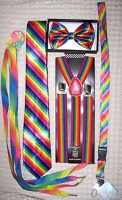 Men's Rainbow Stripes Adjustable Bow tie,Neck Tie,Suspenders,Lanyard,Shoelaces17