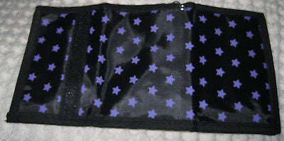 "Black and PURPLE STARS Wallet Unisex Men's 4.5"" x 3"" W-New in Package!"