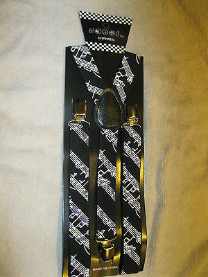 Black White MUSICAL NOTES PIANO KEYS Suspenders and matching Bowtie Bow Tie-New!