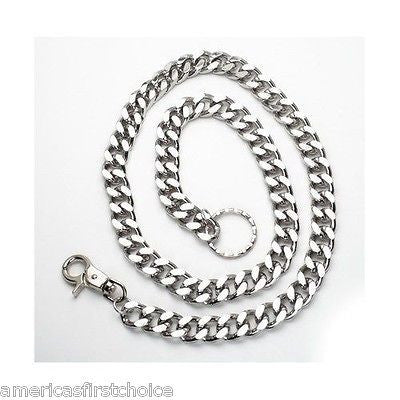 "12"" DOUBLE CHROME/BLACK WALLET JEAN CHAIN HIP HOP PUNK KEYCHAIN-BIKER CHAIN-NEW"