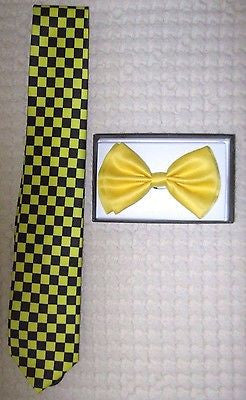 Yellow Adjustable Bow Tie and Black&Yellow Checkers Checkered Neck tie Combo