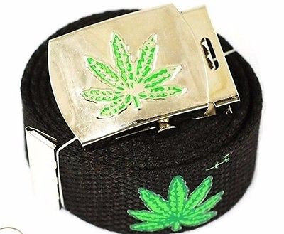 "Canvas Military ""Marijuana"" MJ Leaves Web Belt & Matching Belt Buckle-New!"