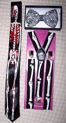 "Unisex Skulls Design Adjustable Bow tie&1 1/2"" WIDE Skulls Adjustable Suspenders"