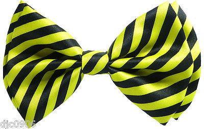 BLACK AND YELLOW SWIRLS STRIPED ADJUSTABLE  BOW TIE-NEW GIFT BOX!YELLOW BOW TIE