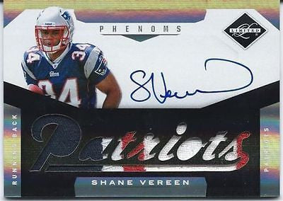 SHANE VEREEN RC 2011 PANINI LIMITED 3-COLOR PATRIOTS PATCH AND ROOKIE AUTO#/299