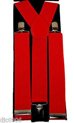 "Thick 1 1/2"" Bright Orange Neon Orange Y-Style Back suspenders-New in Package!"