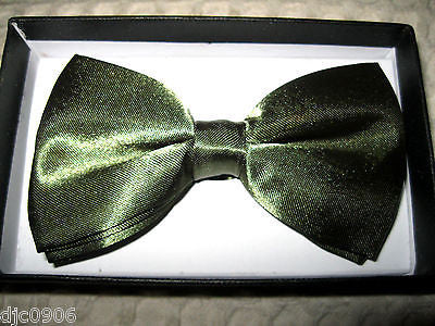 Shiny Dark Green Adjustable Bow Tie & Tan Beige Adjustable Suspenders Set-New!
