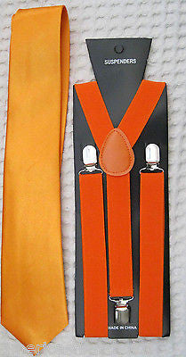 Bright Neon Orange Neck Tie & Bright Orange Adjustable Y-Back Suspenders-New!V2