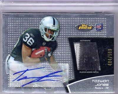TAIWAN JONES RC 2011 TOPPS FINEST 2-COLOR PATCH AND ROOKIE AUTO #484/599-RAIDERS