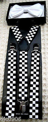 WHITE TUXEDO ADJUSTABLE BOW TIE+BLACK&WHITE CHECKER ADJUSTABLE SUSPENDERS COMBO!