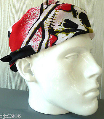 New Red Cross with Skull Crossbones in Center Head Wrap Bandanna Face Mask,Scarf,Wristband-New!