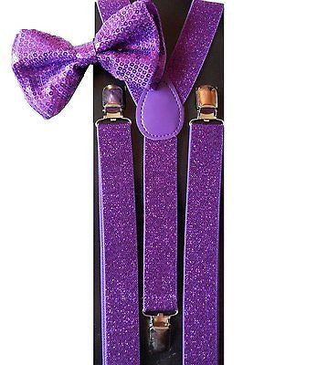 Purple Sequin Adjustable Bow Tie & Purple Glittered Adjustable Suspenders Set