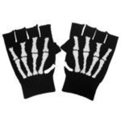 WHITE SKELTON HAND SKULL HAND FINGERLESS GLOVES KNIT SAFARI ANIMALPRINT -NEW!