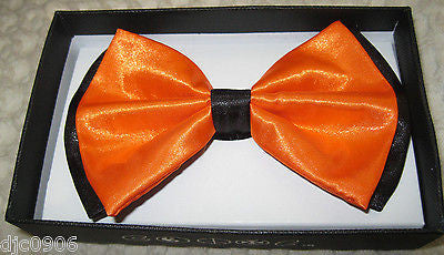 ORANGE WITH BLACK ENDS/TIPS TWO TONE TUXEDO ADJUSTABLE BOWTIE BOW TIE-NEW BOX!