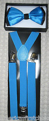 BLUE BLACK PLAID TUXEDO BOW TIE+ BLUE ADJUSTABLE SUSPENDERS COMBO SET-NEW!V2