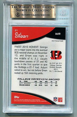 A.J. Green RC 2011 Topps Finest Refractors Rookie Card#21 GEM Graded BGS 9.5