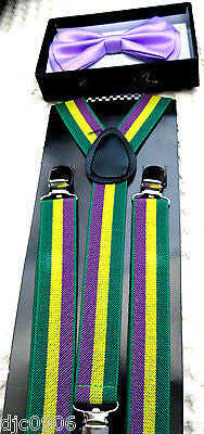 LIGHT PURPLE TUXEDO ADJUSTABLE BOW TIE+MARDI GRAS ADJUSTABLE SUSPENDERS COMBO!