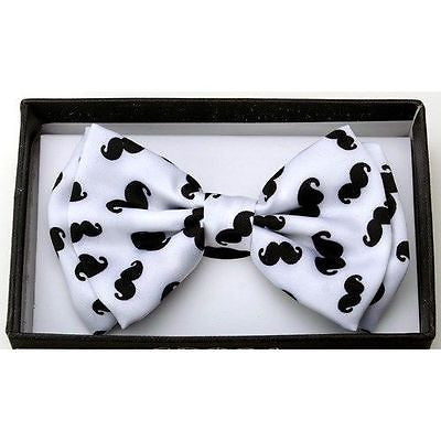 Unisex White Black Mustaches Tuxedo Classic BowTie Neckwear Adjustable Bow Tie