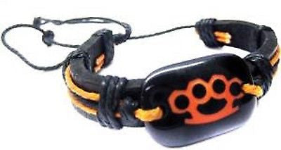 PUNK GOTH MENS WOMEN'S VINTAGE ORANGE KNUCKLES BLACK LEATHER BRACELET-NEW!