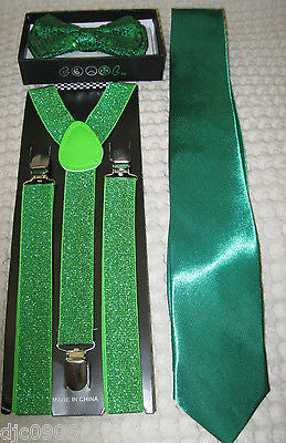 Green Sequin Adj. Bow Tie,Green Adjustable Glittered Suspenders,Green Tie Combo