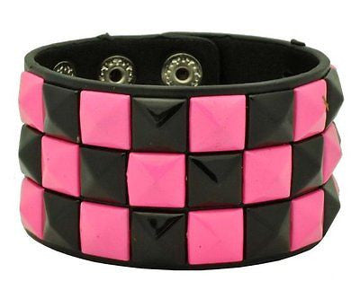 Black and Pink Triple Row Checkered Studded Black Leather Bracelet-Brand New!