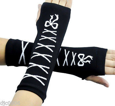 Black with White Laces Ribbons Elastic Fingerless Arm Warmers Elbow Long Gloves