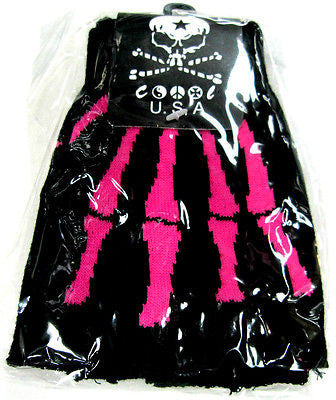 PINK SKELTON HAND SKULL HAND FINGERLESS GLOVES KNIT SAFARI ANIMALPRINT -NEW!