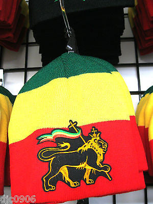 Mexician Lion State Symbol w/Flag on a Red,Yellow,Green RASTA Beanie Ski Cap-New