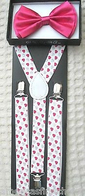 Hearts Adjustable Bow Tie&Pink Silver Hearts Adjustable Suspenders Combo-New!