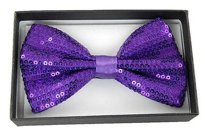 Unisex PURPLE Sequin Tuxedo Classic BowTie Neckwear Adjustable Bow Tie-New
